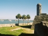 Castillo de San Marcos built with coquina that turned grey over the years since 1695
